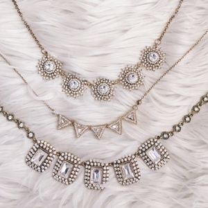 3 different Rhinestone Crystal Gem Necklace